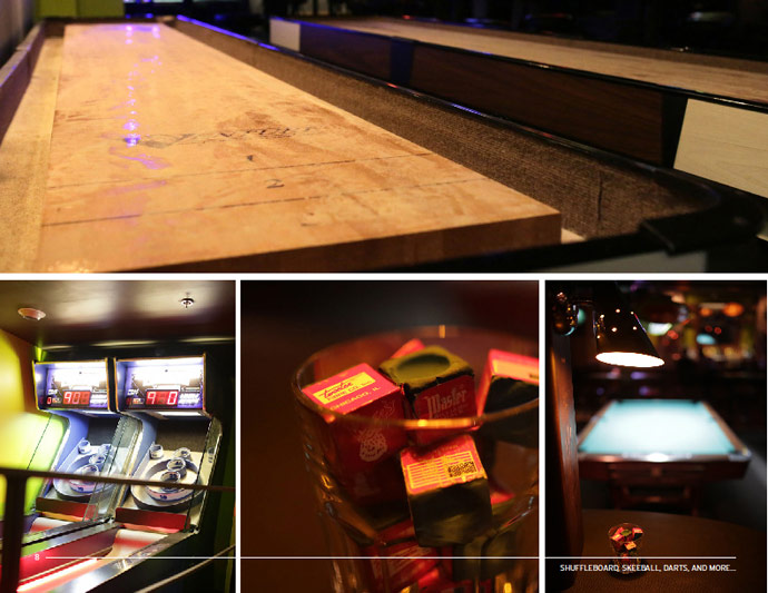 shuffleboard, pool and darts at Rocket Bat